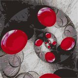 Red circles are twisted in a spiral on a gray spotted background. royalty free illustration