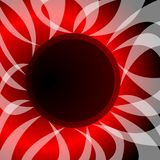 Abstract vector with theme solar eclipse. Wavy rays surround the black circle, in the background fiery glow Royalty Free Stock Image