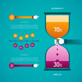 Abstract vector timeline and hourglass bar diagram infographic template in flat style Royalty Free Stock Photography