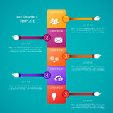 Abstract vector timeline infographic template in flat style for layout workflow scheme, numbered options, chart or diagram Royalty Free Stock Image