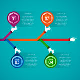 Abstract vector timeline infographic template in flat style for layout workflow scheme, numbered options, chart or diagram.  Stock Image