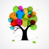 Abstract Vector Tree With Colorful Blobs, Splashes Stock Photo