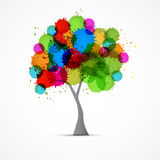 Abstract Vector Tree With Colorful Blots, Splashes Stock Photography