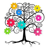 Abstract Vector Tree with Colorful Flowers Royalty Free Stock Photography