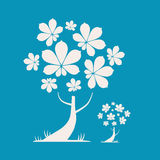 Abstract Vector Tree Illustration. With Chestnut Leaves on Blue Background Stock Photos