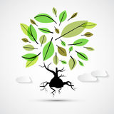 Abstract Vector Tree Illustration. On Grey Background Stock Photos