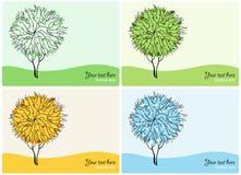 Abstract Vector trees.  Four Season Royalty Free Stock Photos
