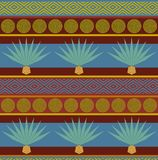 Abstract vector tribal ethnic background. Bright seamless pattern with blue agave print Royalty Free Stock Photography