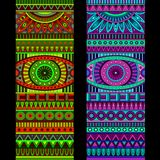 Abstract vector tribal ethnic background set. Three variants of color Royalty Free Stock Photo