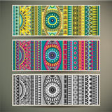 Abstract vector tribal ethnic background set. Royalty Free Stock Photography