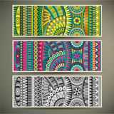 Abstract vector tribal ethnic background set. Stock Photo
