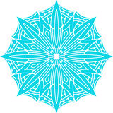 Abstract vector turquoise round lace design in mono line style - Stock Photo
