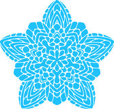 Abstract vector turquoise round lace design in mono line style - Royalty Free Stock Image
