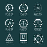 Abstract vector vintage logo design elements set Royalty Free Stock Images