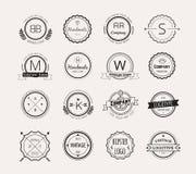 Abstract vector vintage logo design elements set Royalty Free Stock Photos