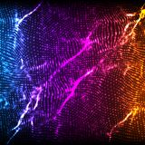 Abstract vector violet wave mesh background. Point cloud array. Chaotic light waves. Technological cyberspace background Stock Image