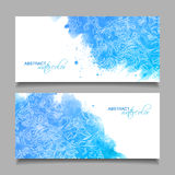 Abstract Vector Watercolor Blue Banners Stock Photos