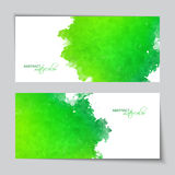 Abstract Vector Watercolor Green Banners. With grunge painted texture Stock Image