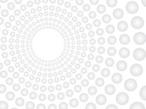 Abstract vector white background with grey spheres pattern. Concentric tunnel with empty hole off-center. Grayscale round royalty free illustration
