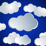 Abstract vector white paper clouds. Vector illustration. EPS 10. Abstract vector white paper clouds. Design elements. Clouds are hidden clipping mask. Easy to royalty free illustration