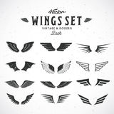 Abstract Vector Wings Big Set, Both Retro and Modern Look. With Shabby Texture Royalty Free Stock Image