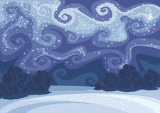 Abstract vector winter night landscape Royalty Free Stock Images