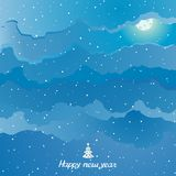 Abstract vector winter sky with clouds and moon. Abstract winter snowy sky with clouds and moon. Inscription Happy New Year and decorated Christmas tree Stock Image