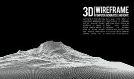 Abstract vector wireframe landscape background. Cyberspace grid. 3d technology wireframe vector illustration. Digital Royalty Free Stock Image