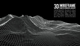 Abstract vector wireframe landscape background. Cyberspace grid. 3d technology wireframe vector illustration. Digital Royalty Free Stock Images