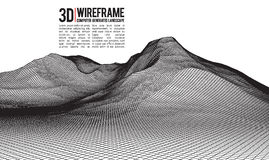 Abstract vector wireframe landscape background. Cyberspace grid. 3d technology wireframe vector illustration. Digital Stock Photos