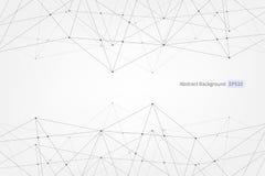 Abstract vectordriehoekspatroon De verbindings wetenschappelijke veelhoekige illustratie van lijnenpunten voor zaken, technologie Royalty-vrije Stock Foto's