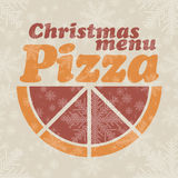 Abstract vectorkerstmismenu voor Pizza Stock Afbeeldingen