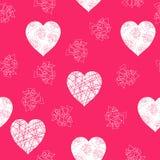 Abstract vectorpatroon met witte harten Royalty-vrije Stock Afbeelding