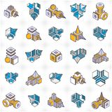 Abstract vectors, 3D shapes set. Abstraction, special artistic shape. n Stock Illustration