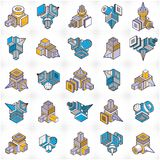 Abstract vectors, 3D shapes set. Geometric shapes in modern art composition Royalty Free Illustration