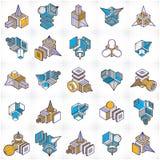 Abstract vectors, 3D shapes set. Modern geometric art illustration Vector Illustration