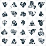 Abstract vectors, 3D simple geometric shapes set. Abstraction, special artistic shape royalty free illustration