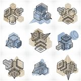 Abstract vectors, 3D simple geometric shapes set. Modern geometric art illustration Royalty Free Stock Image