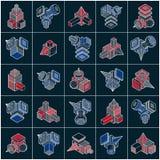 Abstract vectors, 3D simple geometric shapes set. Modern geometric art illustration Stock Illustration