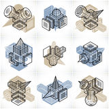 Abstract vectors, 3D simple geometric shapes set. Royalty Free Stock Photos