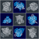 Abstract vectors, 3D simple geometric shapes set. Royalty Free Stock Photography