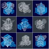 Abstract vectors, 3D simple geometric shapes set. Geometric shapes in modern art composition Stock Image