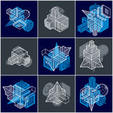 Abstract vectors, 3D simple geometric shapes set. Modern geometric art composition Stock Photography