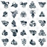 Abstract vectors, 3D simple geometric shapes set. Modern geometric art illustration Royalty Free Stock Images