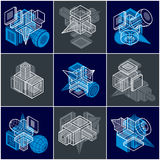 Abstract vectors, 3D simple geometric shapes set. Stock Image