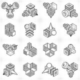 Abstract vectors set, isometric dimensional shapes collection. Royalty Free Stock Images