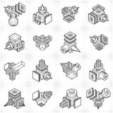 Abstract vectors set, isometric dimensional shapes collection. Stock Photo