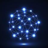 Abstract veelhoekig gebied met gloeiende punten, netwerkverbindingen Futuristische technologiestijl Royalty-vrije Stock Foto