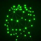 Abstract veelhoekig hoofd met gloeiende punten en lijnen, netwerkverbindingen Royalty-vrije Stock Foto