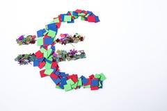 Abstract veelkleurig euro die symbool op een witte achtergrond wordt geïsoleerd Stock Illustratie